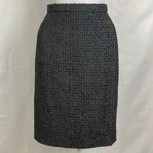 ESCADA Tweed Wool Charcoal Gray Pencil Skirt